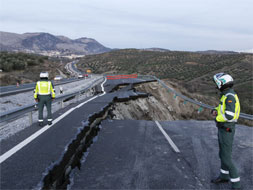 Another stretch of the A-92 collapses as rainsoaked land slides from beneath it