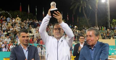 Albert Costa sees off John McEnroe to win the Senior Masters Cup